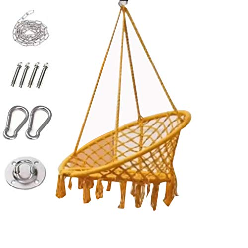 Swing Chair Hanging Chair with Soft Cushion & Durable Hanging Hardware Kit, Comfortable Macrame Hammock,Sturdy Hanging Chairs, for Indoor, Outdoor, Home, Patio (Yellow)