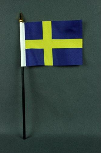 Buddel-Bini kleine tafelvlag Zweden 15x10 cm met 30 cm mast van PVC-buis, zonder standaard