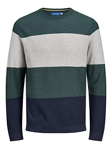 JACK & JONES Herren Jorflame Knit Crew Neck Sts Pullover, Trekking Green, M EU