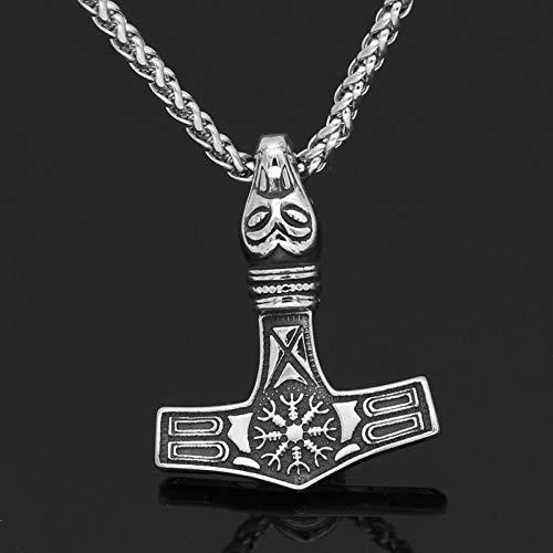 YioKpro Collar con Colgante de Cabeza de Lobo Thor Hammer Mjolnir Vegvisir de Acero Inoxidable