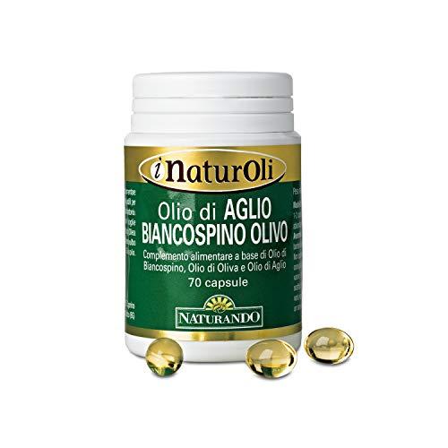 Naturando Olio di Aglio-Biancospino-Olivo 70 perle. Integratore Alimentare per il Controllo della Pressione Arteriosa