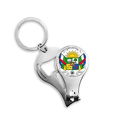 Llavero de metal con diseño de símbolo del país de África central, multifunción, abrebotellas de uñas, llavero de coche, mejor regalo
