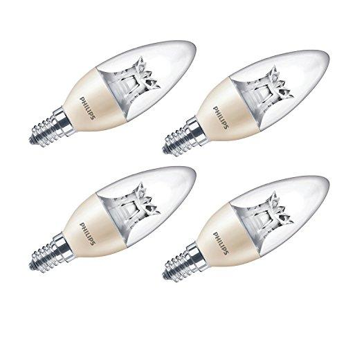 Philips Warmglow Ampoule LED à intensité variable avec douille à vis Edison E14 Blanc 230 V 6 W, Lot de 4, E14 (Small Edison Screw) 230 volts