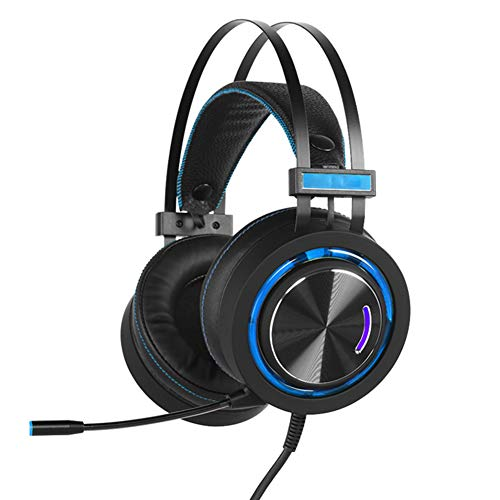 E-Sports Game Headset, Metal Brushed Ear Shell Wired Headset, 50MM Speaker Unit, LED Cool Color, met High Sensitivity Microphone, size, Blauw