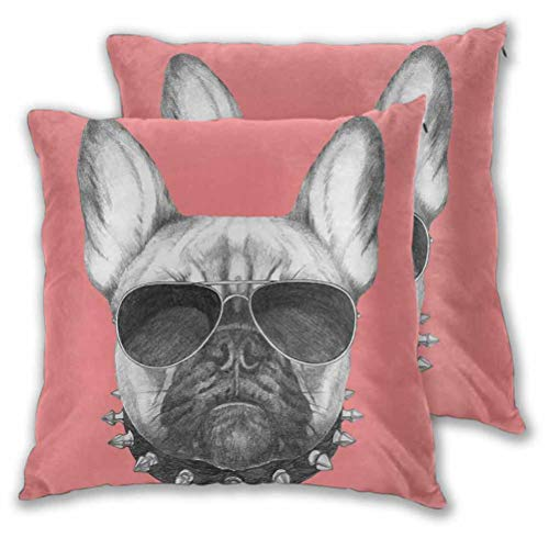 Youdeem-home Bulldog Decorative Pillows Cushion Covers Hand Drawn Style Dog Portrait with Collar and Sunglasses on Pink Backdrop Modern Decorative Pillow Case Black Grey and Pink 14' x 14', Set of 2