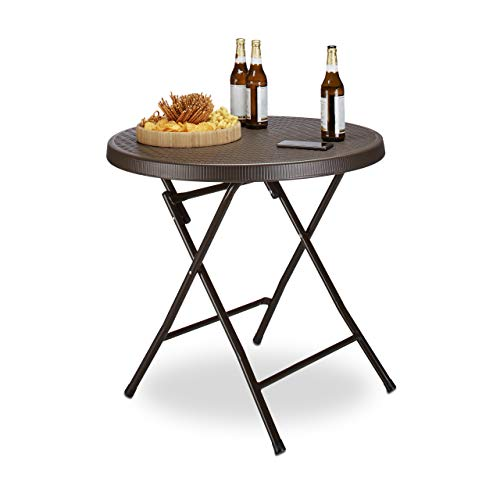 Relaxdays Rattan Look Side/Camping Bastian Round Garden Folding Table for Backyard/Balcony/Patio with Metal Frame, Brown