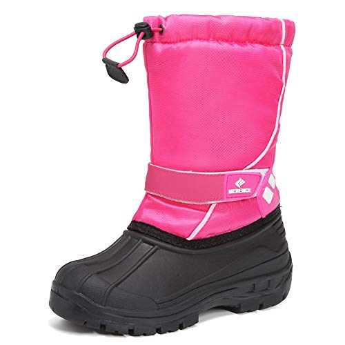 EQUICK Kids Snow Boots,Boys& GirlsWinterBoots Waterproof Cold Weather Outdoor Boots(Toddler/Little Kid/Big Kid),U219WTXH003-pink-34