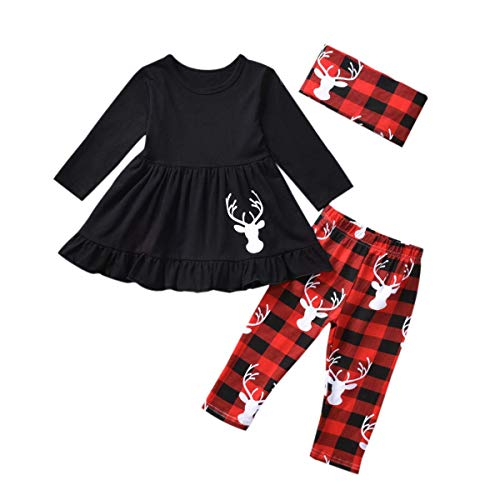 Toddler Girls Christmas Outfits, Baby Girl Tunic Drees Tops Buffalo Plaid Pants Scarf Deer Winter Clothes (Deer, 2T)