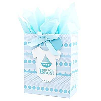 "Hallmark 13"" Large Gift Bag with Tissue Paper for Baby Showers, New Moms and More (B is for Boy, Blue)"