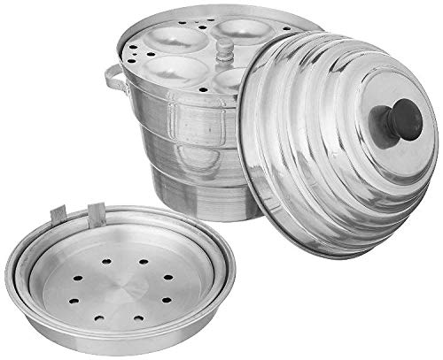KS Mart KASANA'S Aluminium Idli Maker Cooker with 4 Plus 3 Plates Steamers (9.5 Diameter, silver)