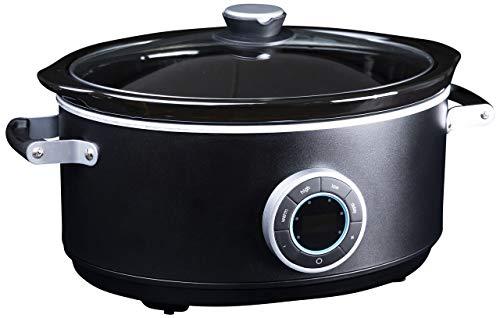 Gastronoma 18280002, Digitaler Pulled Pork Slow Cooker Schongarer, 6,50 Liter, 300 Watt, Mattschwarz