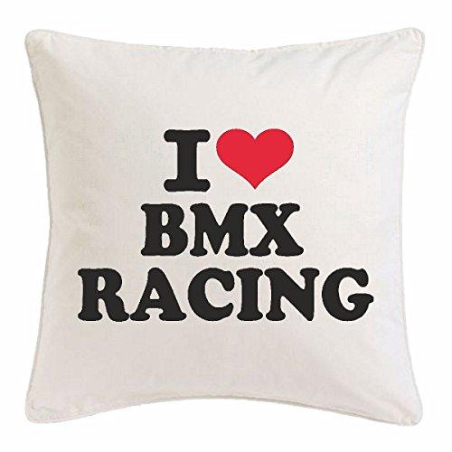 Reifen-Markt Kissenbezug 40x40cm I Love BMX Racing - Fahrrad - CROSSRAD - BMX Helm - BMX Meisterschaft aus Mikrofaser in Weiß