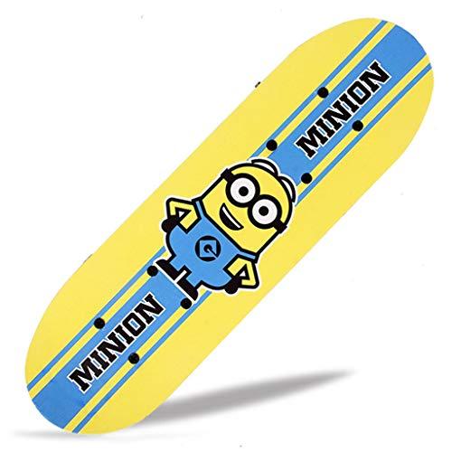 Potato smile Skateboards Kinder Bunte Mini-Cruiser Vier-Rad-Skateboard Doppel Rocker Complete Skateboard Größe: 43 * 12,7 * 9cm (Minion)