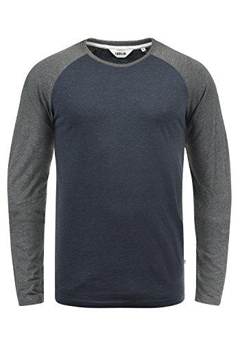 !Solid Bastien Herren Longsleeve Langarmshirt Shirt Mit Rundhalskragen, Größe:M, Farbe:Blue Grey Melange (G8991)