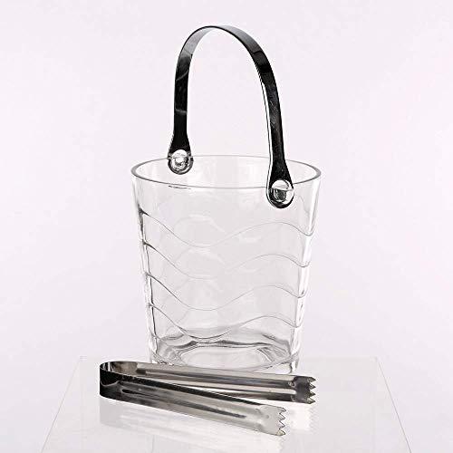Mini, in vetro trasparente, secchiello per ghiaccio con pinze, capacità: 0,95 L ONDAS