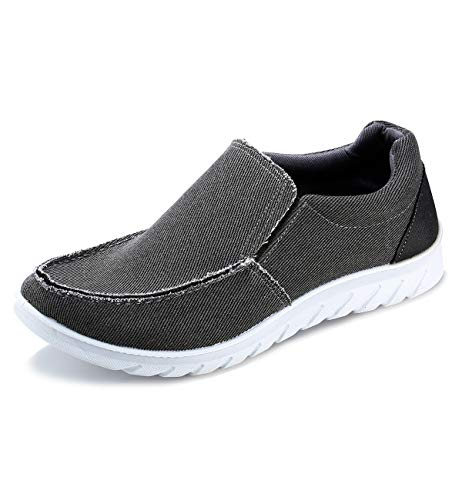 iloveSIA Men's Casual Slip-on Walking Loafer Shoes Mesh Walking Sneakers Deep Grey US Size 9.5