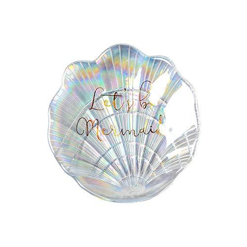 IGLZ Forma Shell Colorido Placa de Cristal baratija de la Bandeja de Joyas decoración casera Creativa Exquisita joyería de Placas tecla de la Bandeja Mejores Regalos for mamá, tía, Amigos, Novia