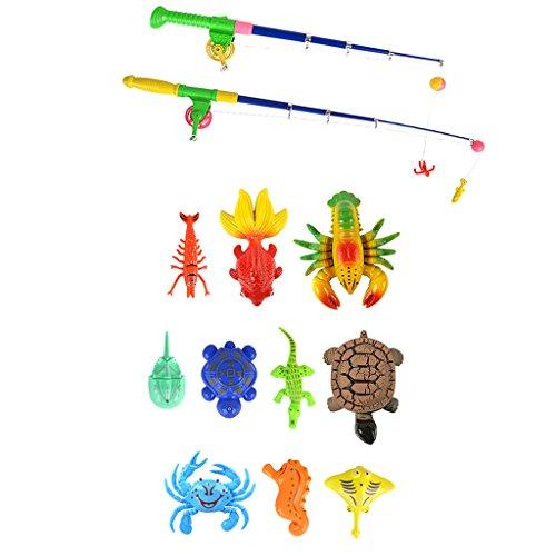 Kinder Angelnspiel mit Enten Fisch Tiermodell & Angelruten, Baby Kinder Angeln Rollenspielzeug - # D - 13 Stücke