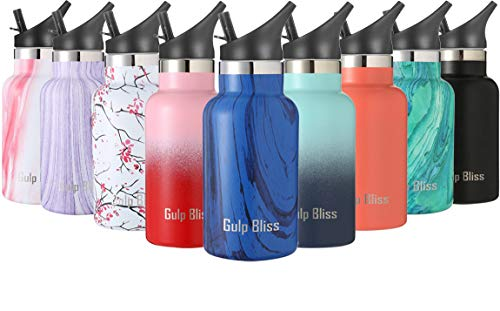 Gold Armour GulpBliss Double Wall Vacuum Insulated Stainless Steel Leak Proof Sports Water Bottle, Narrow Mouth with BPA Free Slip Free (Pattern: Midnight Oak, 12oz)