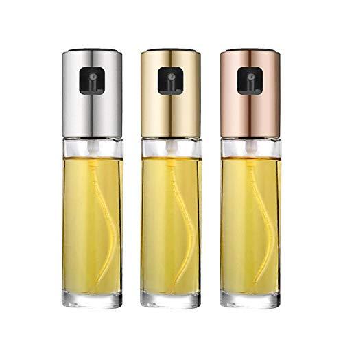 WLXW Edelstahl Olivenöl Sprayer Küche Öl Sprühpumpe Glasöltopf Auslaufsicher Tropfspender Grill Kochwerkzeug, Weinessig,3pcs