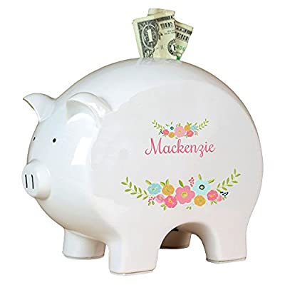 Personalized Spring Floral Piggy Bank