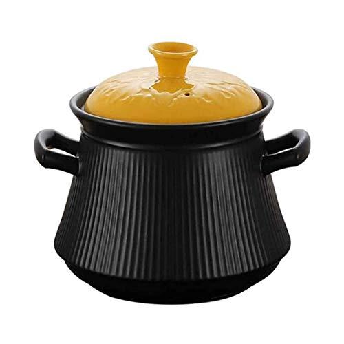 WLVG Casseruola con Coperchio Pentole di Terracotta per Cucinare Pentola, capacità di nutrienti migliorata Resistente alle Alte Temperature Sano e Durevole 4L