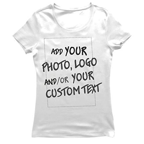 lepni.me Camiseta Mujer Regalo Personalizado, Agregar Logotipo de la Compañía, Diseño Propio o Foto (Small Blanco Multicolor)