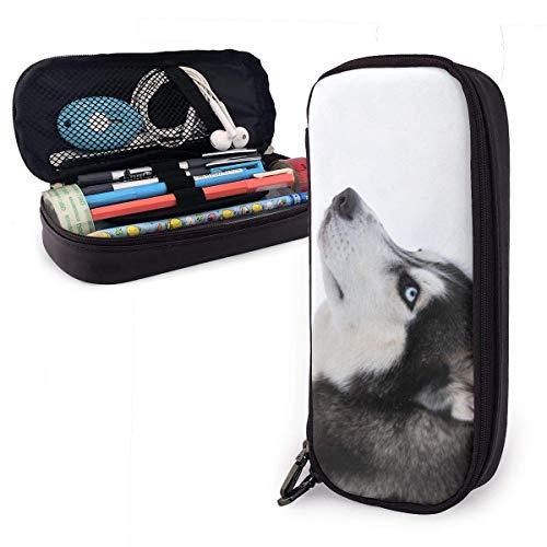 Doppel-Reißverschluss Pu Leder Bleistift Fall Tasche Hochleistungs Briefpapier Stift Beutel Tasche Lustige Haustier Husky Hund Schlitten Hunde