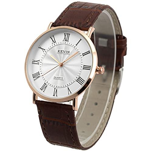 Reloj de Pulsera Hombre Delgado Delgado Minimalista marrón SIBOSUN Correa de Cuero de Cuarzo Números Romanos clásicos Analógico