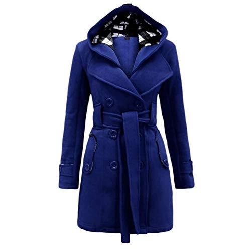Abrigo De Invierno Elegante Sólido para Color Mujer Abrigo Mode De Marca De Gabardina De Transición Chaqueta con Cinturón Parka De Doble Botonadura Chaqueta De Invierno (Color : Blau, Size : Cn S)