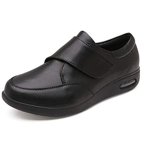 FJJLOVE Edema Unisex Zapatos, Zapatos Diabetes Desmontable Doble de la Plantilla Zapatos para Caminar Impermeable Antideslizante de Calzado de Edad Avanzada pies hinchados Fascitis Plantar,Negro,42