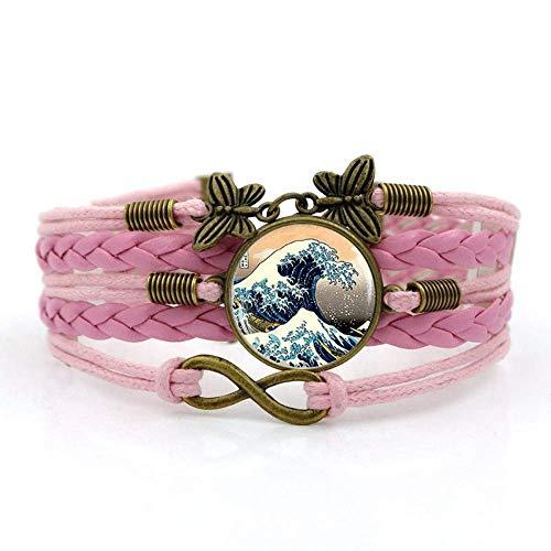 Pulseras tejidas para niñas, cuerda rosa, estilo japonés, hermoso surf, Kanagawa, paisaje, pulsera de piedras preciosas de varias capas de vidrio tejido a mano, joyería de moda europea y americana