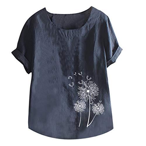 WooCo Leinen Oberteile Damen Sommer Großen Größen - Gesticktes Blumenhemd Baumwolle - China Shirt Charakteristisch Kurzarm Top Bluse - Damen Sale(Marineblau-D,M)
