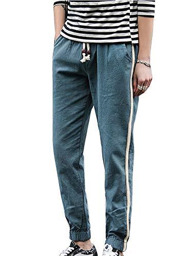 Nvfshreu heren harembroek vrijetijdsbroek look linnen broek linnen stoffen broek rechte broek eenvoudige stijl met trekkoord pluderbroek