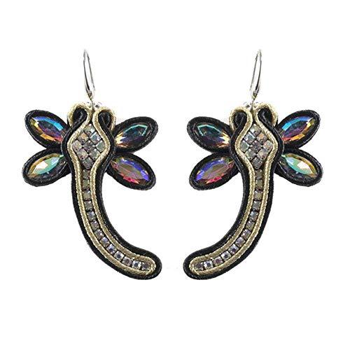 Gymqian Drop Earrings Women Drop Earrings Jewelry Female Soutache Handmade Ethnic Style Earring Dark Blue Exquisite/Black