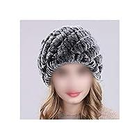 ロシアの女性の毛皮の帽子手作りニット毛皮の帽子暖かい毛皮ビーニーハット、グレー