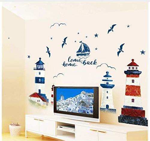 Diy Wandaufkleber Leuchtturm Familie Abnehmbares Boot Vogelhaus Muster Wandtattoo Familie Home Aufkleber Wandbild Kunst Home Decor 90 * 60Cm
