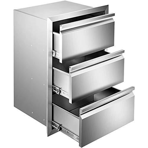 VEVOR Cassettiera per Barbecue, Cassetto per Cucina da Esterno, Cassette Argento in Acciaio Inossidabile, Cassettiera da Cucina con Maniglia Incorporata Uso in Stoviglie (4,7 x 25,4 x 18,7 Pollici)