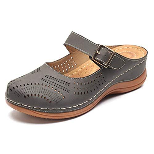 LXYYBFBD Sandalen Voor Vrouwen, Vrouw Platte Sandalen Comfortabele Grijze Retro Anti Skid Platform Sandalen Voor Vrouwen Wedge Sandalen Ronde Hoofd Vrouwelijke Plus Size Schoenen