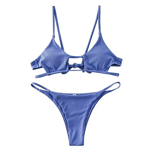 ZAFUL Women Swimsuit Ribbed Cutout …