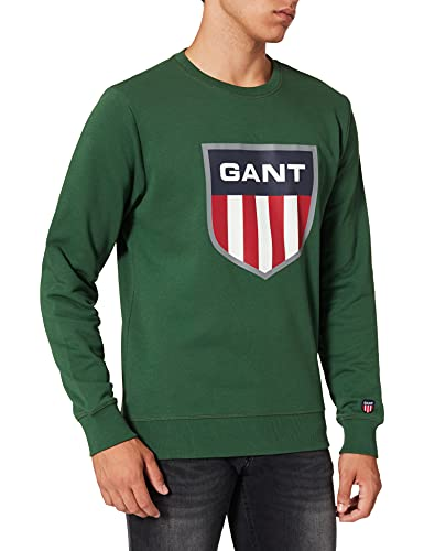 GANT D1 Retro Shield C-Neck Sweat Sudadera, Eden Green, S para Hombre