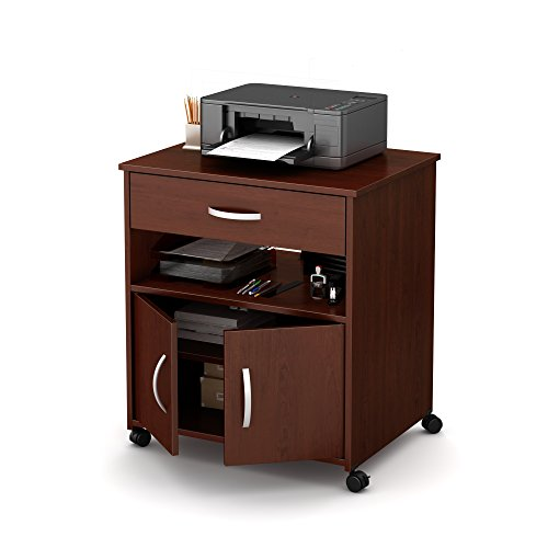 South Shore 2-Door Printer Stand with Storage on Wheels Royal Cherry