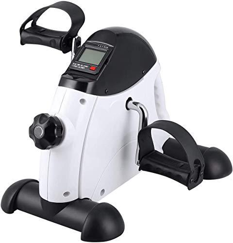 Uten Mini Pedal de Ejercicio Estaticos para Bicicleta de Ejercicio para Brazos y Piernas con Pantalla LCD y Resistencia Ajustable, Ciclo de Resistencia en Interiores (Blanco)