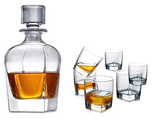 AMDHZ Decantador Artesanal, elegantemente Artesanal, Libre de Plomo y 100% de Cristal Polaco, escocés, escocés o Whisky Decantador de Whisky