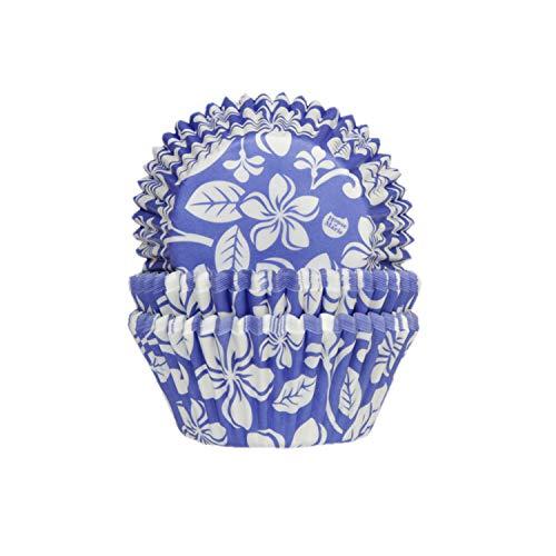 House of Marie Aloha Lot de 50 caissettes à Muffins Bleu Hibiscus