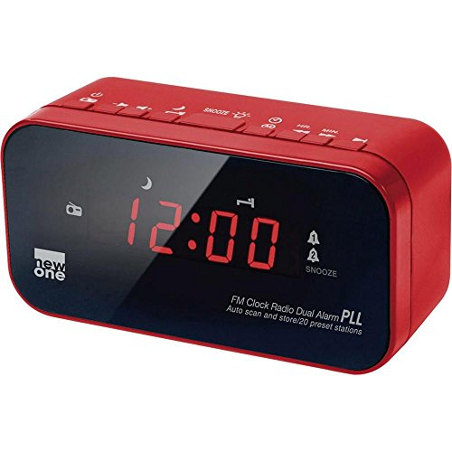 New One CR-120 digitales Uhren-Radio (UKW-Radio mit Senderspeichern, Dual-Alarm, Dimmer)