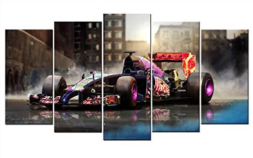 Leinwand-Bild auf Leinwand Auto Formel 1 Bolid F1 Red Bull Rennwagen Rennen Wandbild Automobil Bilder Dekoration Sportwagen Kunstdruck Grafik 150cm x 80cm