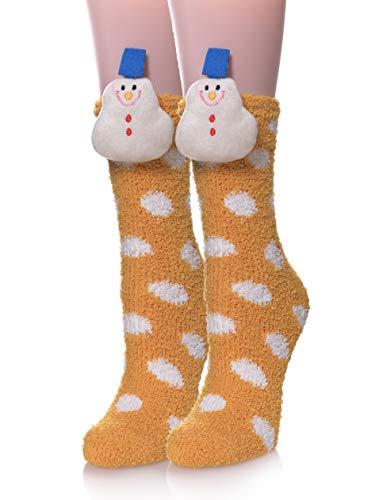 YEBING Women Girls Super Soft Fuzzy 3D Cute Animal Cartoon Winter Warm Slipper Socks Snowman