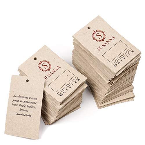 Etiquetas ropa personalizadas para tienda, 85x55 mm, cartón grueso reciclado 450g/m², colgantes, con logo y texto - 250 uds (Kraft/reciclado)