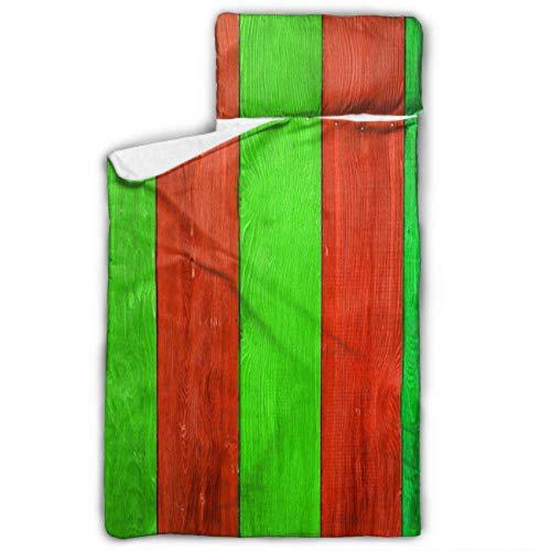 Tabla de madera de colores navideños, apta para la siesta, alfombrilla para niños con manta y almohada, diseño ideal para fiestas de pijamas preescolares de 127 x 50 cm